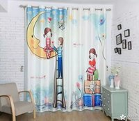 Wholesale d digital printing woven silk children bedroom whole black curtain every piece of cm