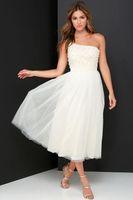 Wholesale Party gowns Pure White a line tea length dress one shoulder beaded backless Graduation dresses