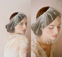 Wholesale Hazy Sheer Tulle Wedding Accessories Bride Covered Face Veils See Though Charming Pearls Wedding Dress Bridal Modelling Veils
