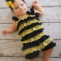 baby boy bee costume - Retail Halloween Bumble bee costume Toddler baby costume Bee Romper Petti lace Romper Three Size S M L