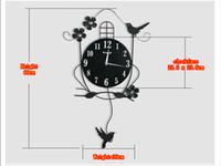 Relógios relógios de parede Pastoral Estilo Pássaro Ferro Forjado Pêndulo Pendurar envio Relógio de parede Chic Home Decor grátis