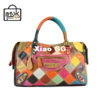 handbags paris - All Genuine leather handbag paris brand women shoulder messenger bag patchwork fashion motorcycle bag hip hop