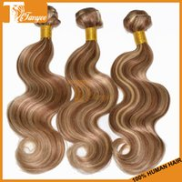 Cheap Piano Hair Weave Bundles Body Wave Brazilian Virgin Hair Extensions Highlight Blonde Color #8 613 3pcs Lot Remy Human Hair Double Weft