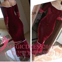 red velvet flower - Burgundy Evening Formal Dresses Long Sleeve Velvet Prom Party Gowns Occasion Dress Mermaid Sheer Neck Pearls Arabic Celebrity