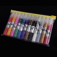 Wholesale 12 Colors Professional Beautiful D Nail Art Paint Drawing Pen Acrylic Nail Art Polish DIY set