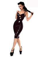 Wholesale Plus Size Black PVC Dress Vinyl Latex Sexy Catsuit Costume Spaghetti Strap PU Leather Lingerie Catwoman Bondage Clubwear Clothes