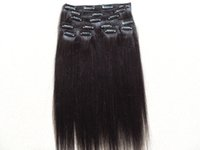 Cheap brazilian virgin human clips in hair extensions straight light yaki hair weft natural black color 100g one bundle 9pieces one set