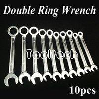 al por mayor combination wrench set-Freeshipping métrica 10 tamaños de cromo de vanadio de acero rueda de trinquete de doble uso abrir / anillo Llaves de combinación conjunto de herramientas de herramientas