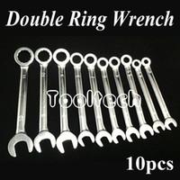 al por mayor combination wrench set-Métricas freeshipping 10 tamaños de cromo-vanadio de acero de la rueda de trinquete doble uso Abrir / Llave de anillo Llaves combinadas Juego de Herramientas Kit