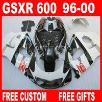 al por mayor suzuki gsxr750 fairing-En venta ! Kit de carenado para SUZUKI Srad 96 97 98 99 00 GSXR600 GSXR750 blancos partes carenados negros GSXR 600 750 1996 1997 1998 1999 2000 5A7W