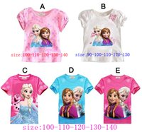 top brand t-shirts - 5 colors elsa anna frozen t shirts kids clothes girls for branded children year tees t shirt for girls summer style cartoon blouse tops
