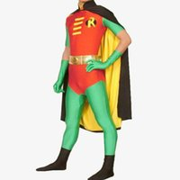 adult robin costume - Robin costume adult Halloween costumes for men batman SuperHero cosplay Spandex Zentai party full bodySuit with cape custom