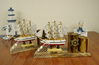 Wholesale The Mediterranean pen container sailing Solid wood model sailboats Fashionable home furnishing Decoration