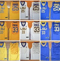 Wholesale Cheap Hot Shaquille O Neal Jersey LSU Tigers College White Purple Yellow Cheap Shaq ONeal Basketball Jerseys Stitched Logos