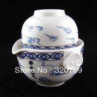 Wholesale Blue and White Porcelain Auspicious Clouds Gaiwan Teapot Quick Gongfu Tea Maker TP074