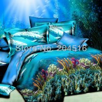 aqua and coral bedding - aqua blue ocea Coral reefs cheap d oil print dolphine bedding set cotton bedclothes queen full double bed sheets and pillowcase