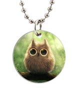 baby dog tags necklace - Cute Baby Owl Crystal Eyes Customized Colorful Design round Dog Tag Necklace Aluminum Tag for Animal Pets Tag