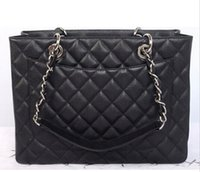 quilted handbags - Grand Shopping Tote channelling bag Classic Quilted Gold Silver Chain handbag brand Black beige Caviar Leather Cc bag