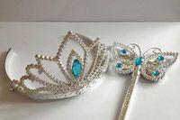 Wholesale CCA2760 set Girls Cartoon Frozen Cosplay Ornament Anna Elsa cosplay Crown Cinderella Party Accessories Magic Wand sticks Rhineston Tiara