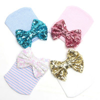 Wholesale 10 PC Winter Warm Lovely Newborn Baby Infant Girl Toddler Soft Bowknot Hospital Cap Beanie Hat