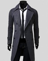 Wholesale Fall fashion NEW hot Pure color cotton men s black down jacket full sleeves double breasted long wool leisure winter coats