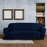 Wholesale High Quality Soft Cotton Slipcover Couch Sofa Slip Cover for Loveseat Seater Dark Blue The Cover on The Sofa H12491