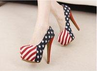 american flag wedding dress - Sale Size Denim Cloth American Flag Stars Stripes High Heels Shoes Platform Pumps Stiletto