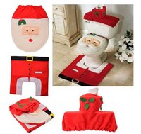 animal bathroom accessories - Hot selling New Best Happy Santa Toilet Seat Cover Rug Bathroom Set Christmas Decorations high qulaity