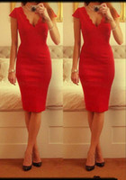Cheap Wholesale - Real Picture! Sexy V Neck Short Sheath Red Satin Prom Dress With Short Cap Sleeves Cheap Tight Knee Length Cocktail Party Gown