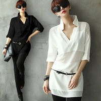 raglan shirt - 2015 Summer New High quality Shirt Sleeve Fifth Straight Women s V neck Chiffon Shirt Long Section Of Loose White Shirt Raglan Sleeve Shirt