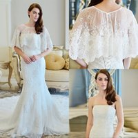 Wholesale Elegant White Lace Wedding Dresses With Wrap Sexy Strapless Mermaid Wedding Gowns Modem Applique Chapel Train Bridal Dress Custom Made Cheap
