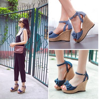 Wholesale 2015 Fashion Wedges High Heels Platform Sandals For Women Sexy Open Toe Bowtie Summer Shoes Drop Shipping