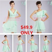 Cheap 2015 Under $50 Free Shipping A Line Cheap Mint Bridesmaid Dresses Knee Length Cheap Short Bridal Wedding Party Prom Dress Baech Gown CPS008