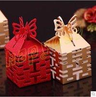 Wholesale free ship Double Xi hollow wedding day wedding candy box marriage charm shower favor candy boxes wedding party gift hold bag