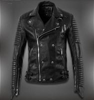 Cheap Fall-2015 New Men'S Winter Jacket Lapel Machine Wagon Alloy Skull Oblique Zipper Short Jacket High Quality Casual Leather Jacket