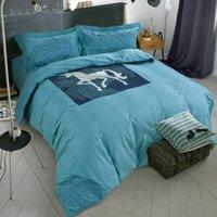 adults summer bedding set - summer style cotton ikea simple fashion pc horse bedding sets comforter sets blue green Unicorn pure color duvet cover