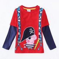 Wholesale 2014 winter Baby boys clothing peppa pig t shirts full cotton long sleeve red t shirt for kids boys shirt new design nova brand A5626Y