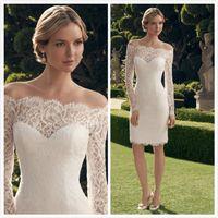 Wholesale White Full Lace Long Sleeve Wedding Dress Sheer Neck OFF Shoulder Sheath Knee Length Summer Short Beach Wedding Dresses Bridal Gowns
