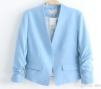 Wholesale Hot Sale Women s Blazer Jackets Spring New Solid Color Suit Ruched Sleeve Slim Fit Thin Coat Cardigan Tops HOD1001
