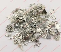 charms - 120pcs Mixed Tibetan Silver Tone Charm Fashion Pendants Jewelry DIY Floating Charm styles