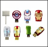 memory thumb drive - 2015 New Hot The Avengers LED Flash GB USB Flash drive Iron Man Hulk Hero Captain Memory Drive Stick Pen Thumb USB flash disk