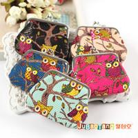 Wholesale Stylist Multichoice Color Owl Patten PU Women Girls Coin Money Bag Purse Wallet Cheap Hot fashion