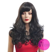 Wholesale 23 inch Female Glamorous Charming Fashion Long Dark Brwon Black Wave Kanekalon Fiber Synthetic Women Wig Hair g H9331Z