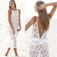 Wholesale Spaghetti Strap Backless Lace Crochet Long Dresses Beach Hollow Out Dress Sexy Lace Knitting Swimwear Bikini Cover Up Beach long dress st