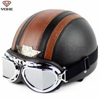 Wholesale New YOHE Summer Genuine Leather Vintage Motorcycle Open Face Half Motor Scooter Motorbike Helmet Goggles