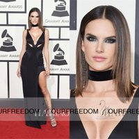alessandra ambrosio - 2016 Alessandra Ambrosio th Grammy Awards Red Carpet Celebrity Dresses V Neck Cutaway Sheath Side Splits Long Formal Evening Dresses