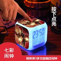 Wholesale Hot Sale LED Colors Change Digital Alarm Clock Iron man Thermometer Night Colorful Glowing Clock for boys