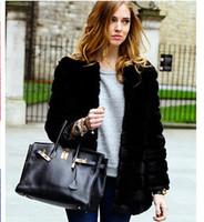 Wholesale 2016 New Winter Women s Faux Rabbit Fur Coat Fake Fox Fur Medium long Thicken Fur Coats Plus Size XS XL XL Black Overcoat H6 manteau