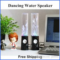 Wholesale Dancing Water Speaker Portable Music Audio MM Player for Iphone s s USB LED Light Active for Led Mp3 player Laptop PC Tablet JF A4