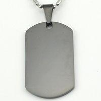 Wholesale Dog Tag Black L Stainless Steel Pendant Necklace metal stamping blanks bezel blank sobrenatural saint benedict medal KJP12